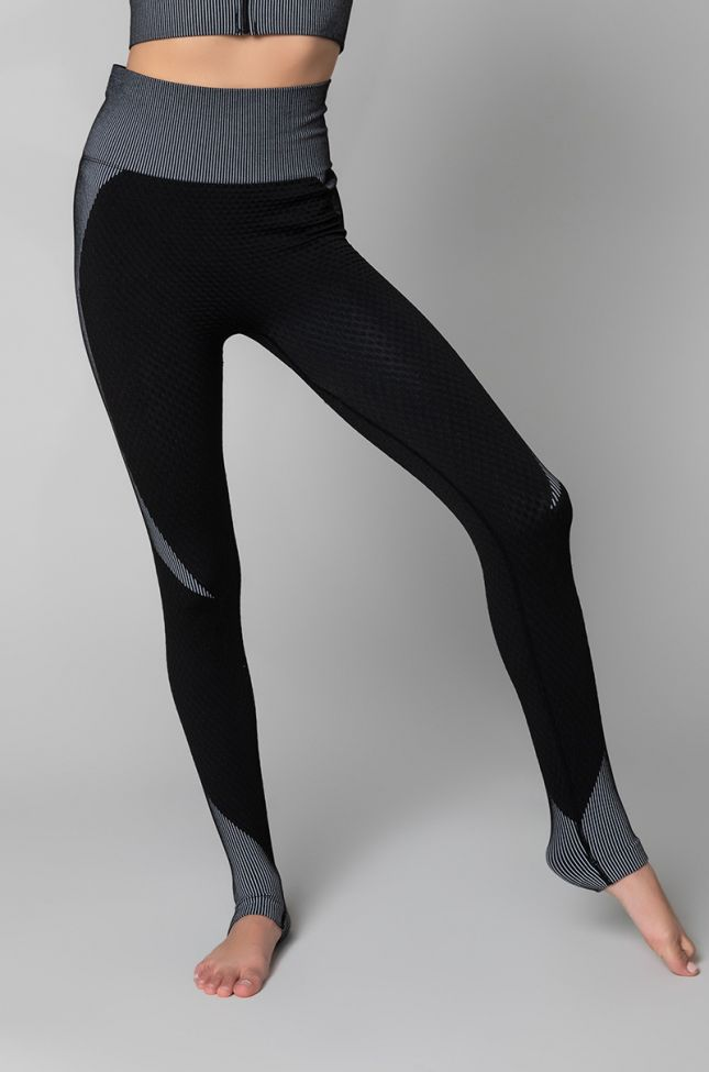 Front View Amalfi Athletic Stretchy Legging in Black White