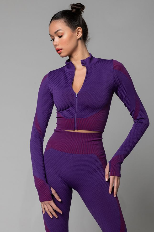 Front View Amalfi Athletic Stretchy Top in Purple Multi