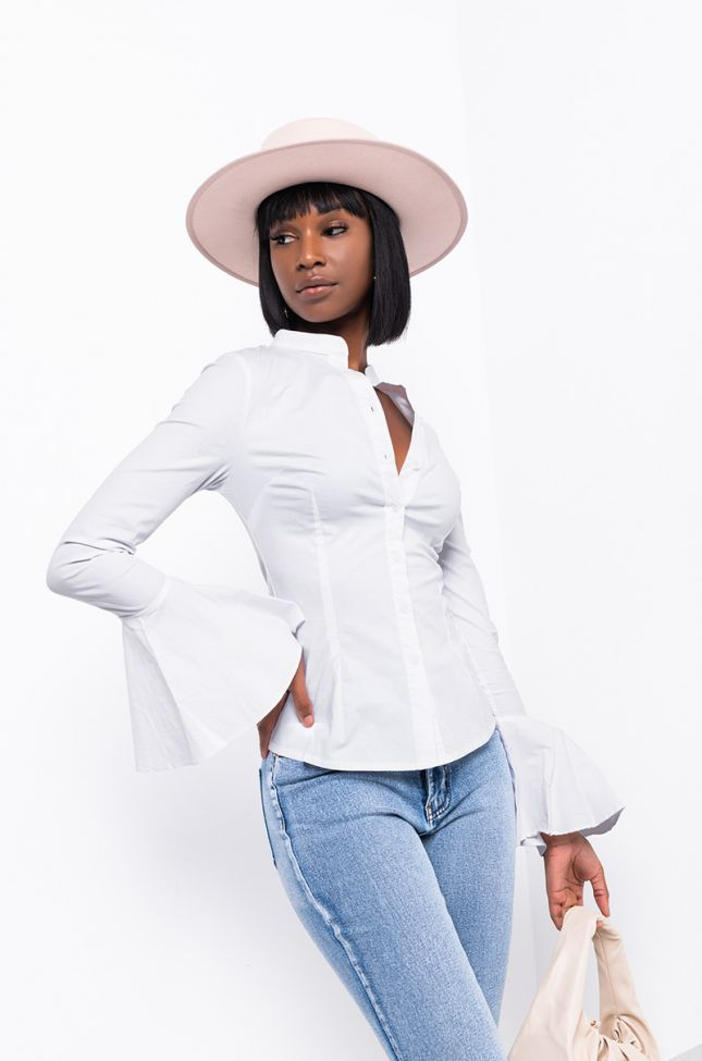 Front View Amelie Button Down Blouse in White