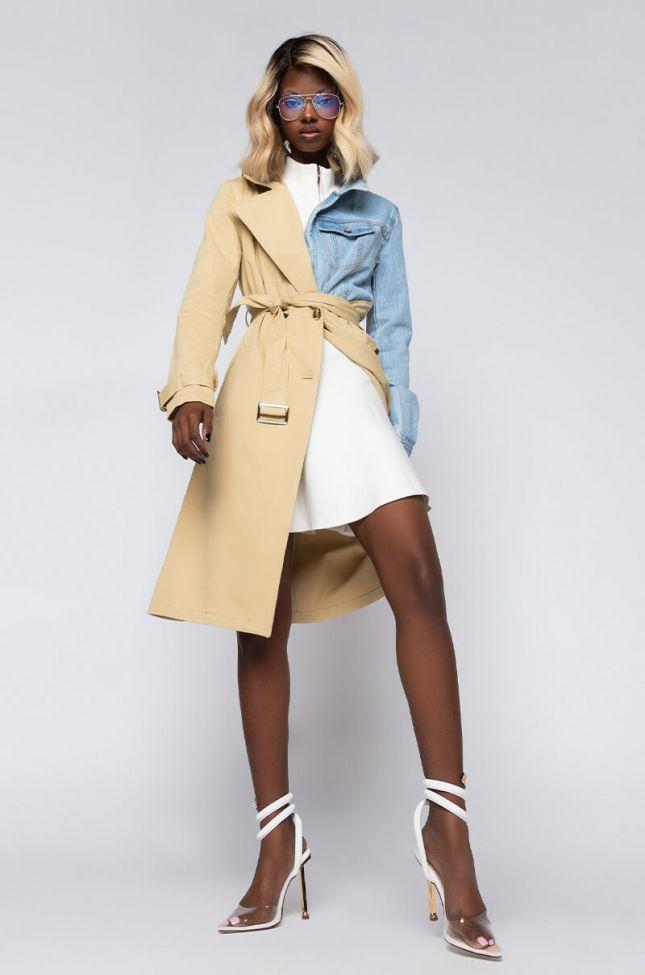 American Boy Mix Fabric Trench Denim Jacket in Beige Multi