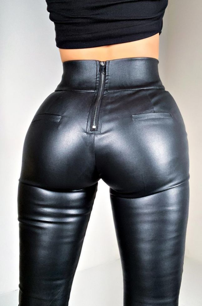 Detail View Ammo X Akira Big Booty High Waist Pleather Pant in Black