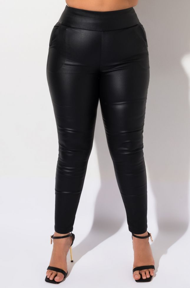 Front View Ammo X Akira Plus Big Booty High Waisted Pleather Pants in Black