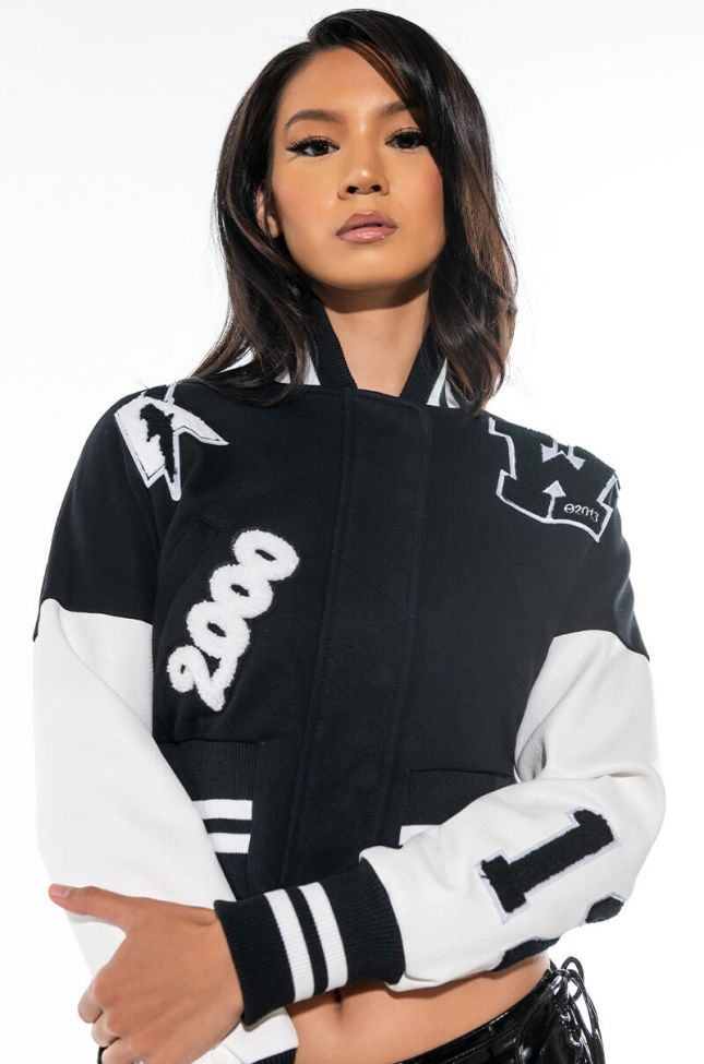 Front View Amour Patch Bomber Jacket