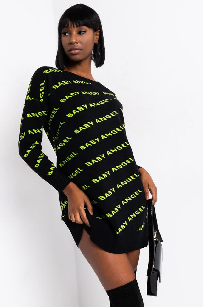 Front View Angel Baby Sweater Dress in Green