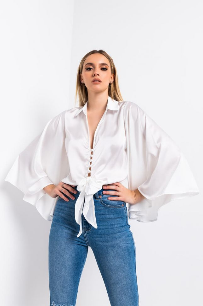 Front View Angelic Satin Tie Front Top in White