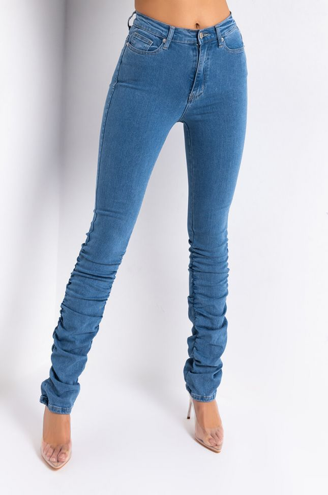 Front View Anitta Stacked High Waisted Skinny Jeans in Medium Blue Denim