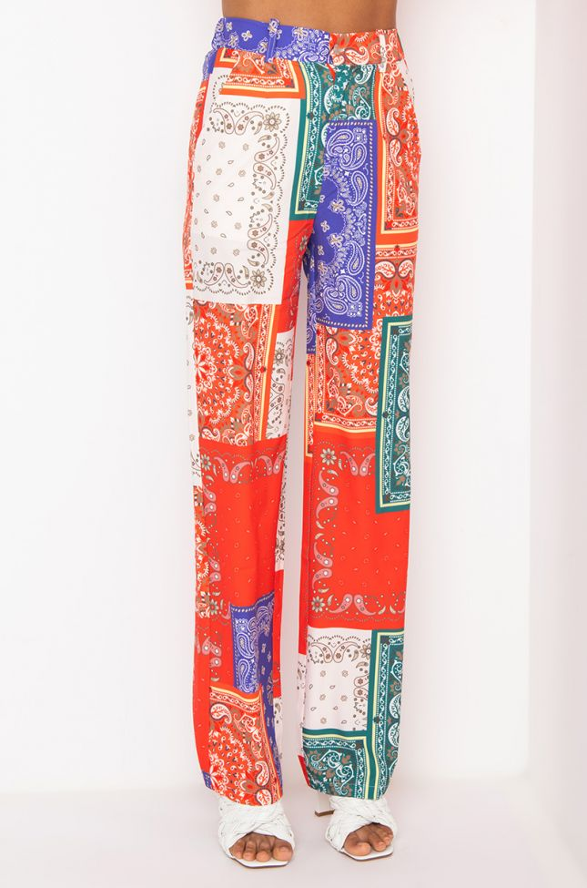 Front View Annita Paisley Jogger in Multi