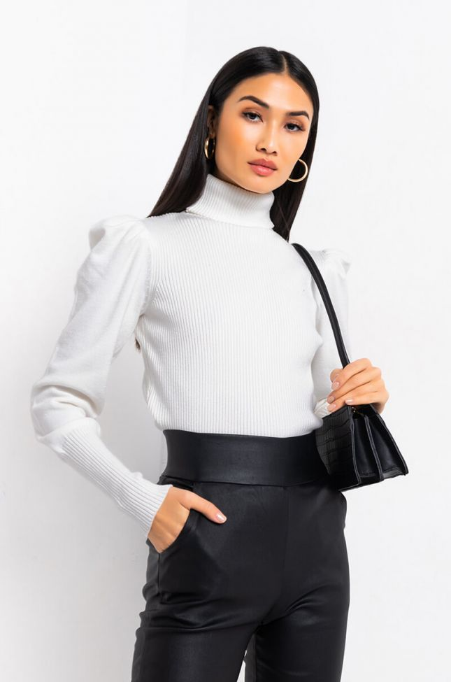 Side View Another Day Long Sleeve Turtleneck Sweater in Ivory