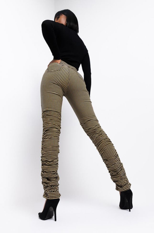 Another Time Stacked Fashion Pants in Beige Multi