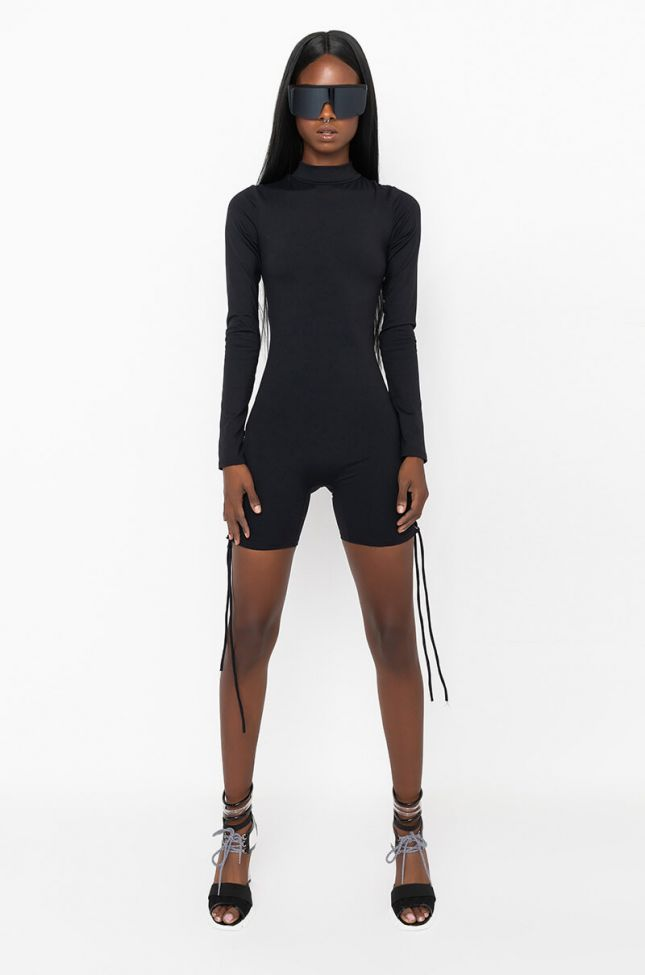 Full View Anytime Now Long Sleeve Romper With Mock Neck in Black