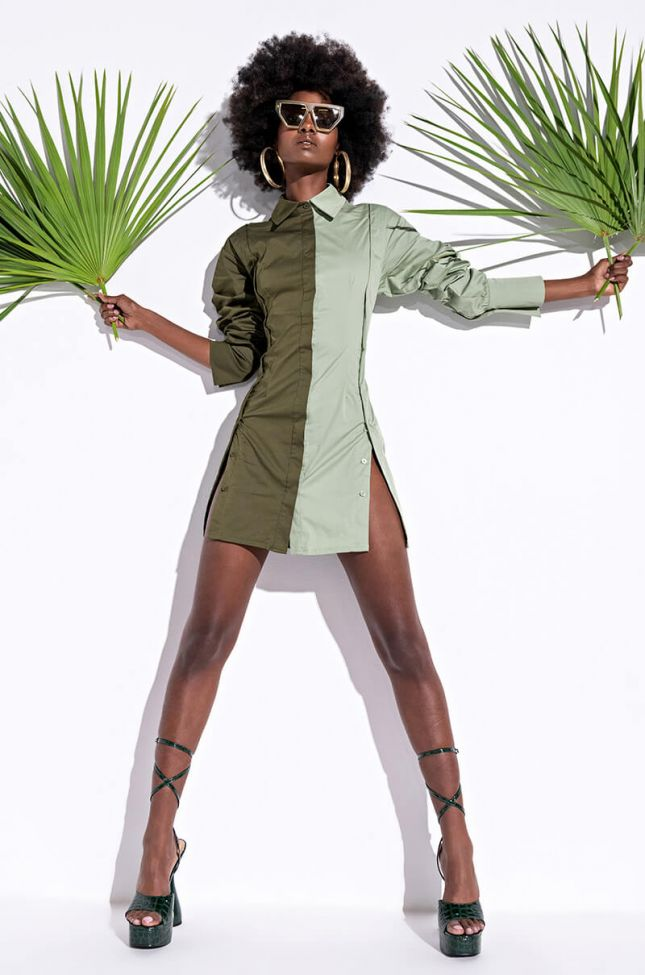 Apply Pressure Button Up Mini Dress in Green Multi