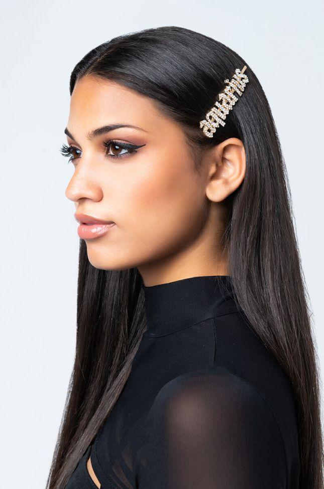 Front View Aquarius Hair Clip in Gold