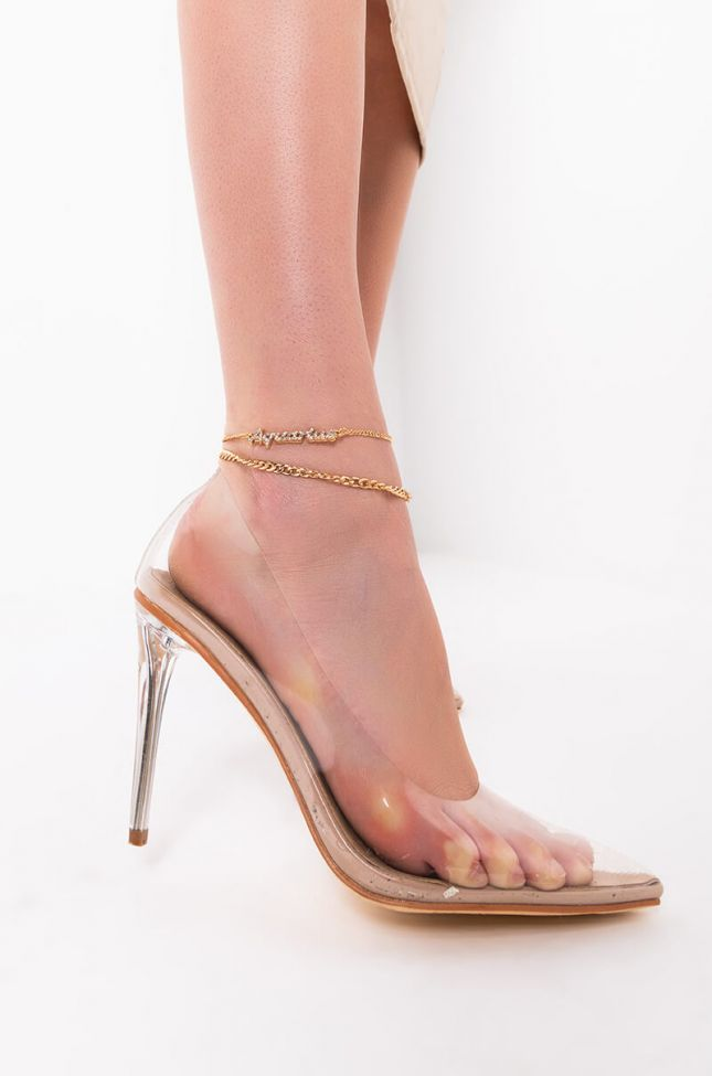 Front View Aquarius Pave Anklet in Gold