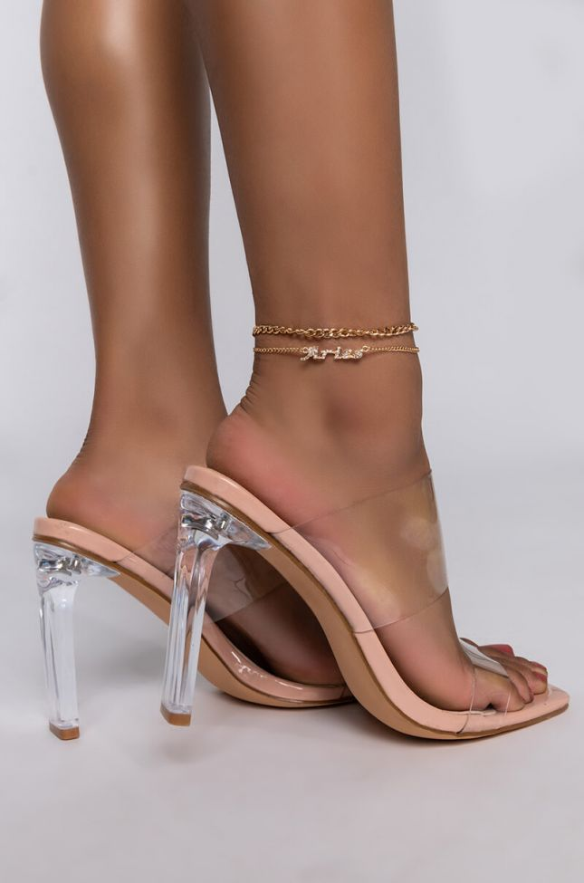 Front View Aries Pave Anklet in Gold