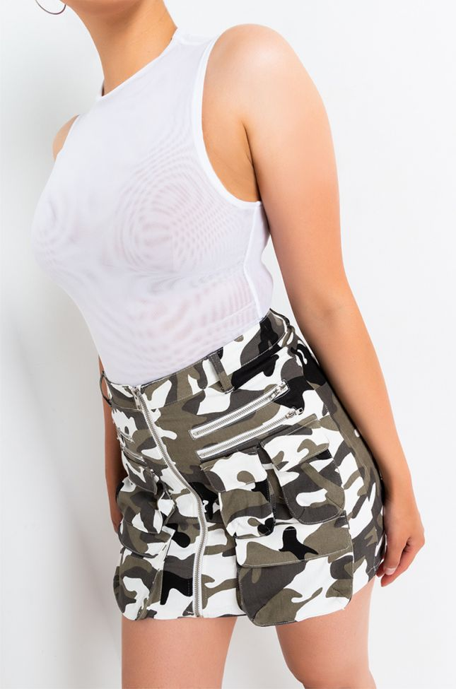 Front View Army Hour Front Zipper Mini Skirt in Black Grey