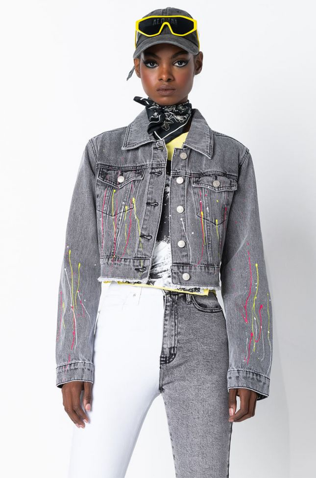 Front View Art Student Fitted Denim Jacket in Grey