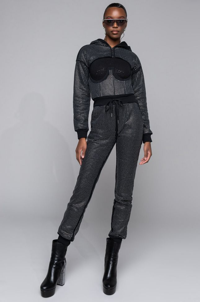 Front View As If Rhinestone Corset Jogger in Black