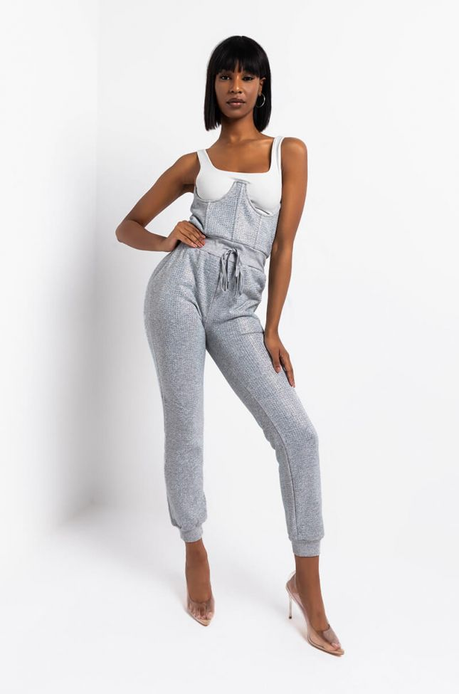 Side View As If Rhinestone Corset Jogger in Heather Grey