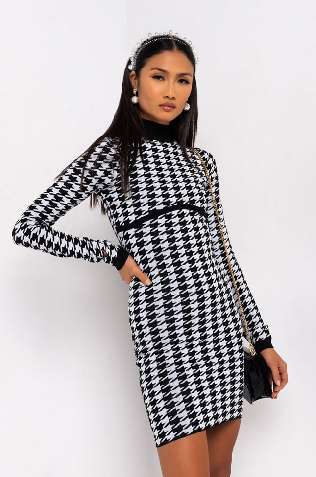 Front View As Is Houndstooth Sweater Dress in Black Multi