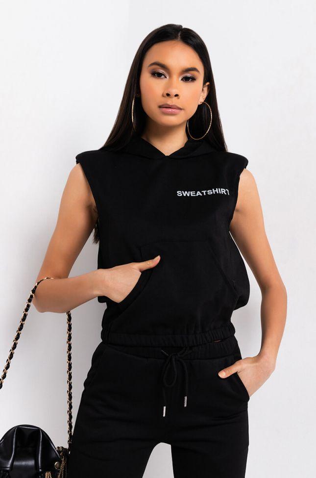 Front View As Simple As It Gets Padded Shoulder Sweatshirt in Black