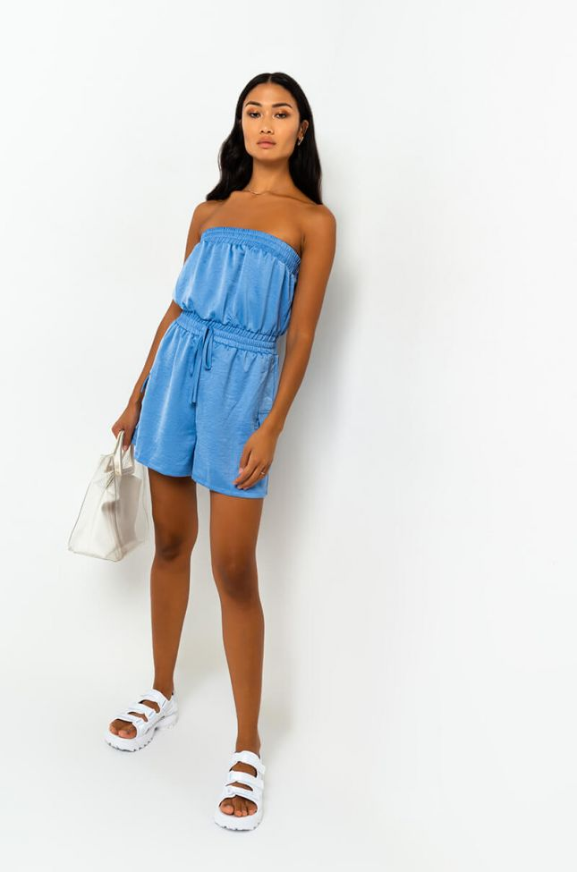 Front View As You Wish Strapless Romper in Light Blue