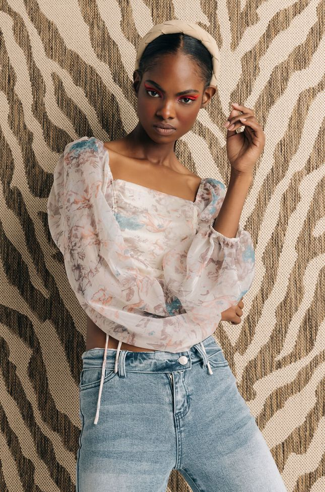 Front View Aster Floral Ruched Crop Blouse in White Multi
