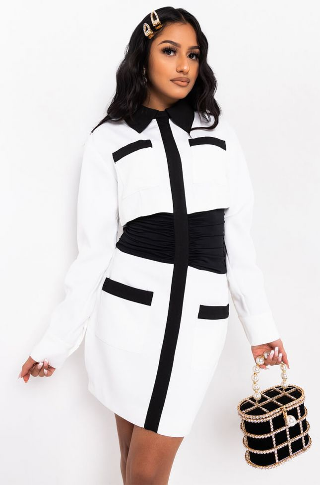 Front View At My Very Best Long Sleeve Blazer Dress in White