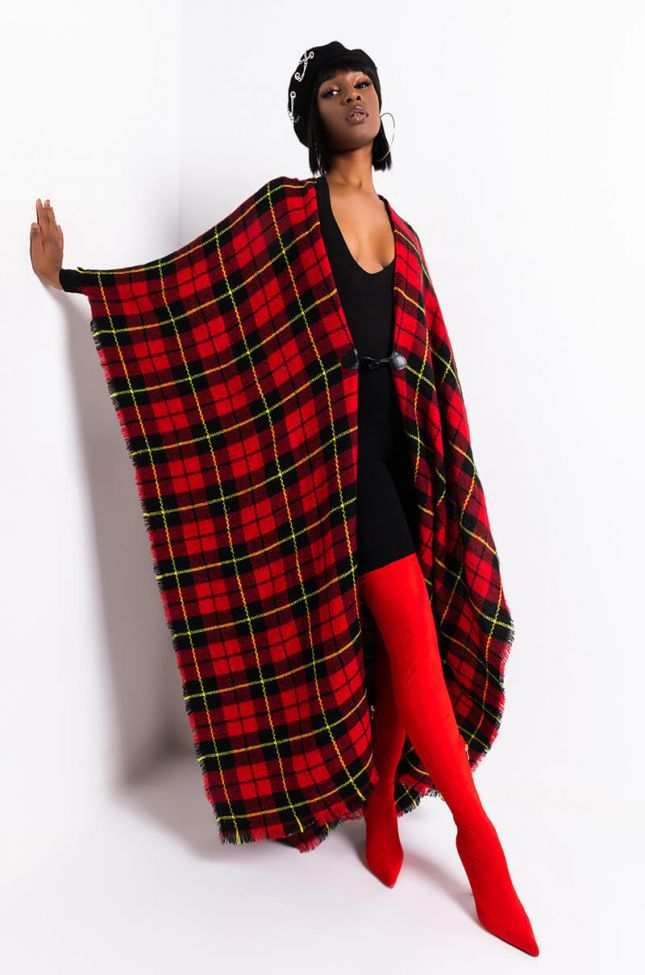 Front View Aureta Long Plaid Poncho in Red Multi