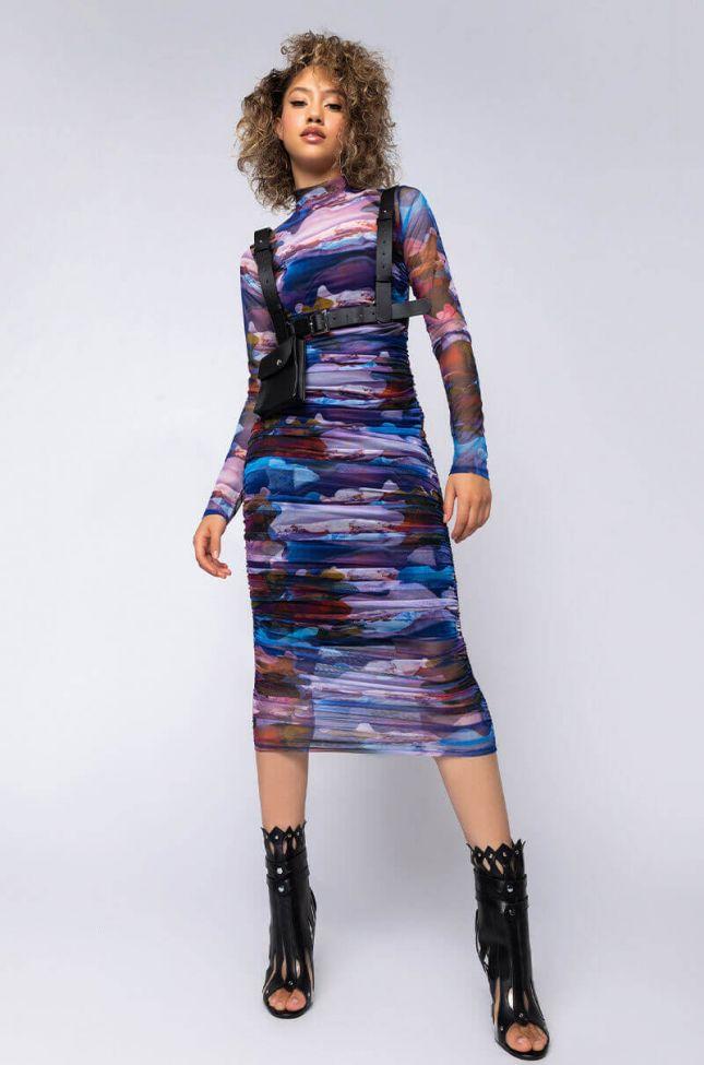 Full View Aurora Maxi Mesh Dress in Purple Multi
