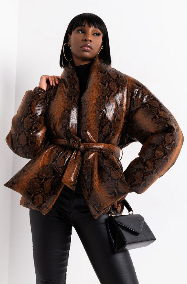 Front View Aurtura Luxe Snake Puffer Coat in Brown Snake