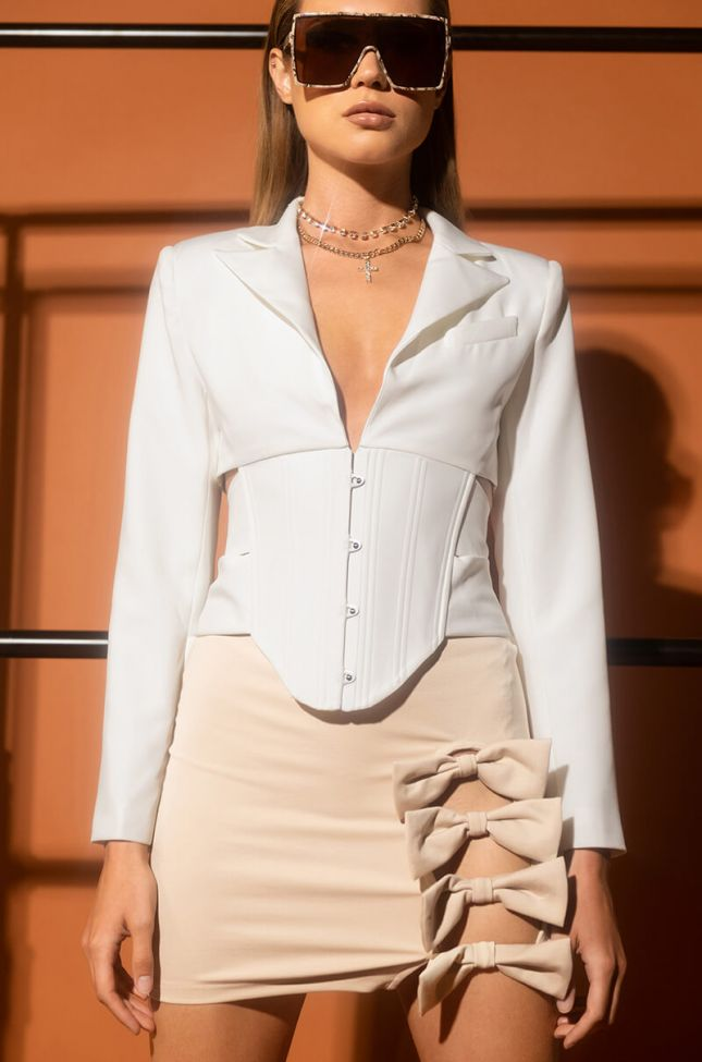 Front View Ayana Corsetted Open Back Blazer Blouse in White