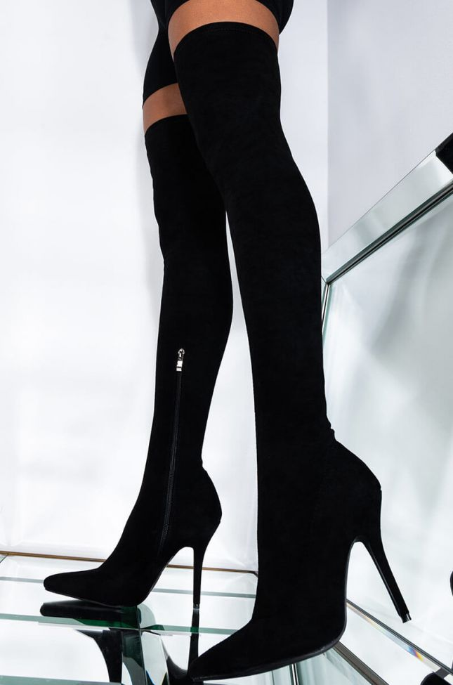AZALEA WANG  YOUR FRIENDS ARE TAKING YOU OUT THIGH HIGH SEXY HEEL SUEDE BOOT IN BLACK