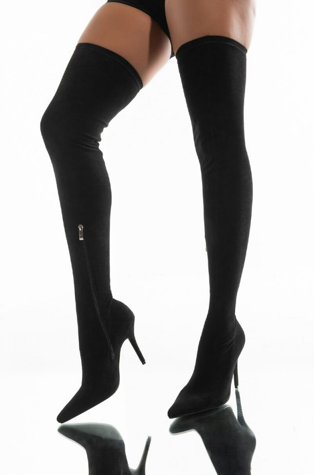 Front View Azalea Wang  Your Friends Are Taking You Out Thigh High Sexy Heel Suede Boot In Black