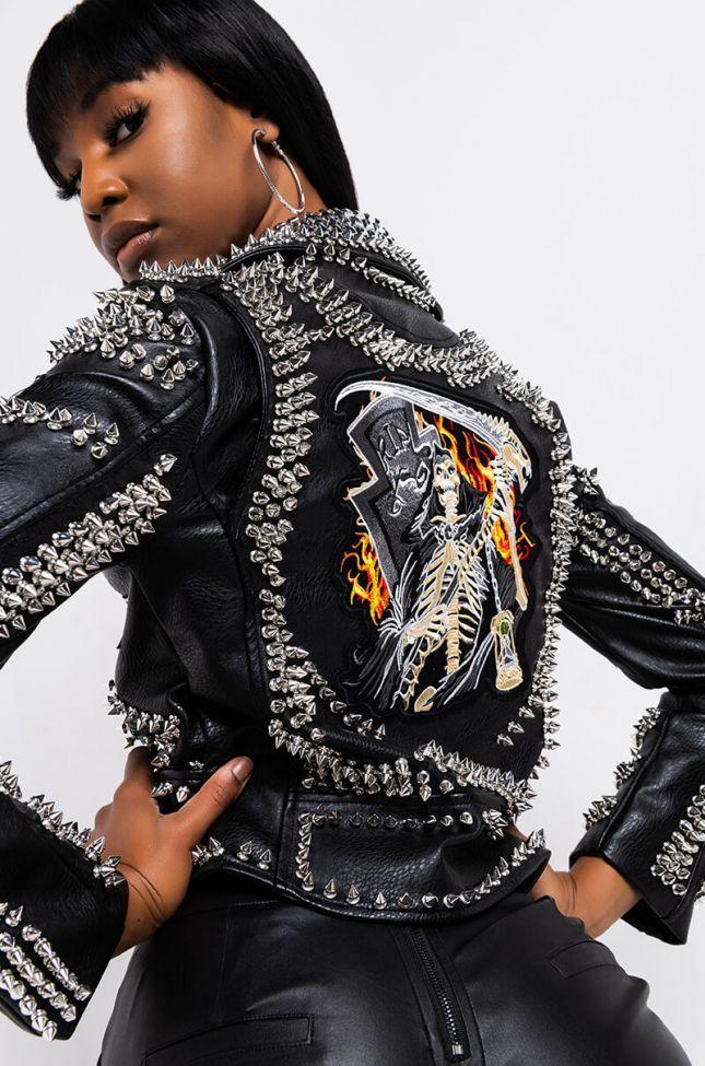 Azalea Wang Acdc Studded Patchwork Moto Jacket in Black Silver