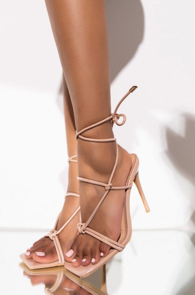 Front View Azalea Wang Add A Little Spice Stiletto Sandal In Nude