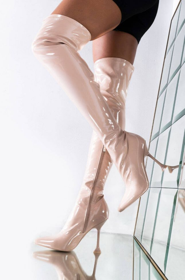 Front View Azalea Wang Aim Straight For The Kisser Stiletto Boot In Nude in Nude