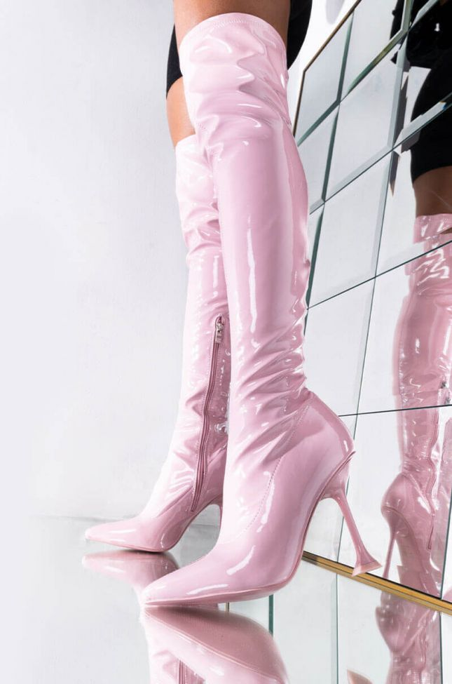 Front View Azalea Wang Aim Straight For The Kisser Stiletto Boot In Pink in Pink
