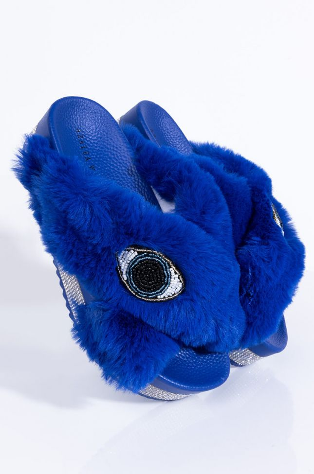 Front View Azalea Wang All Eyes On Me Flatform Sandal In Blue in Blue