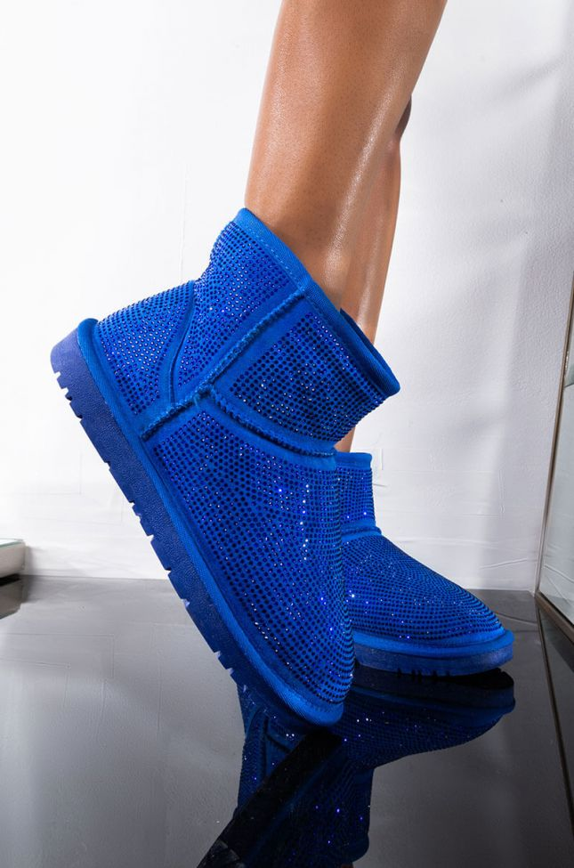 Front View Azalea Wang All Night Long Multi Stone Mini Ankle Booties in Blue