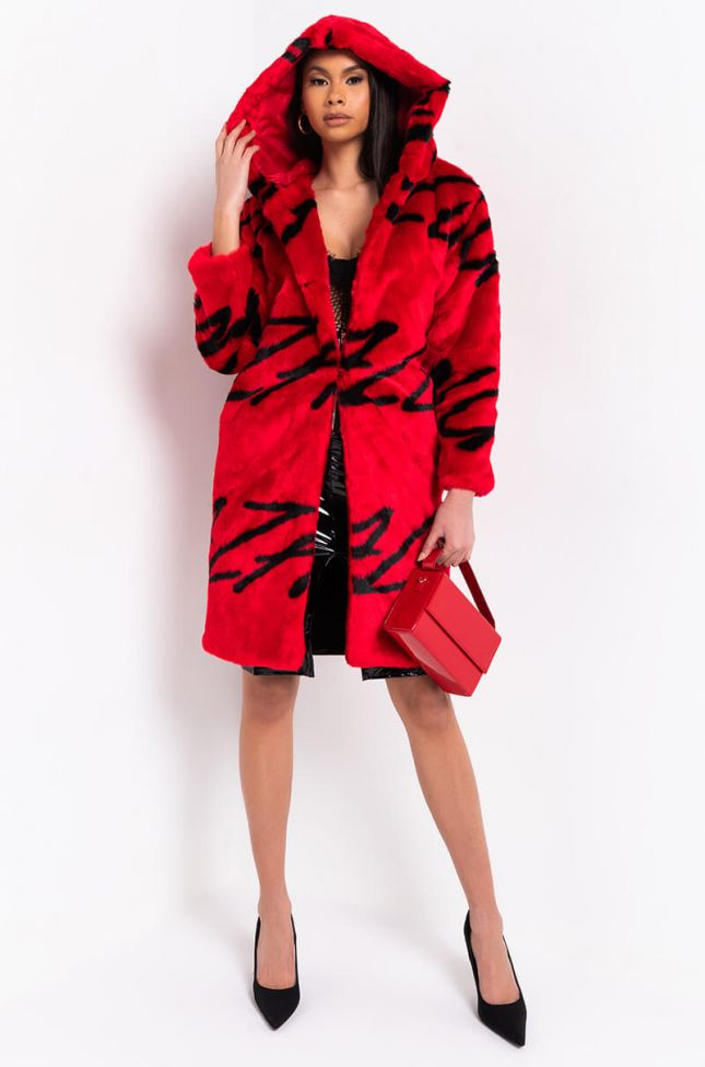 Azalea Wang All Over Print Faux Fur Coat in Red