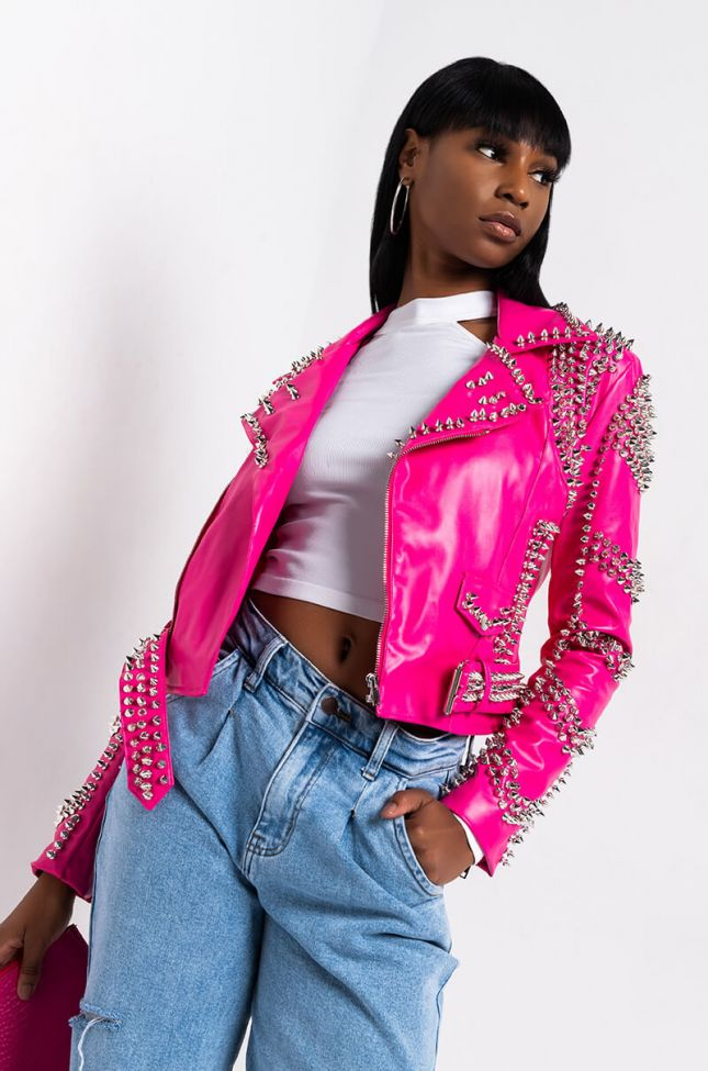 Front View Azalea Wang All Pink Sofi Studded Moto Jacket in Pink
