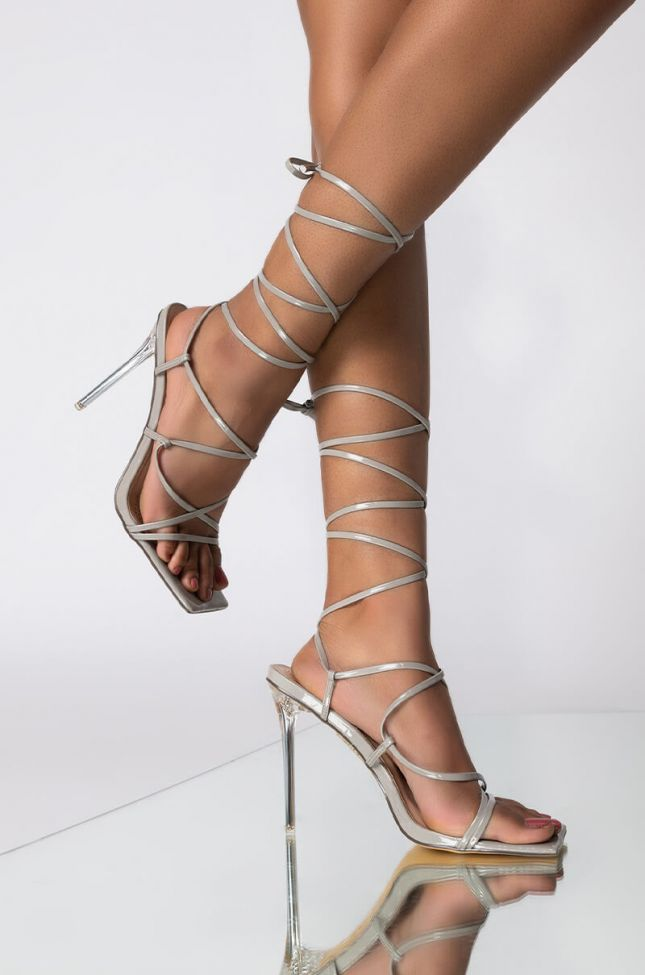 Front View Azalea Wang All Through The Night Stiletto Sandal In Grey in Grey