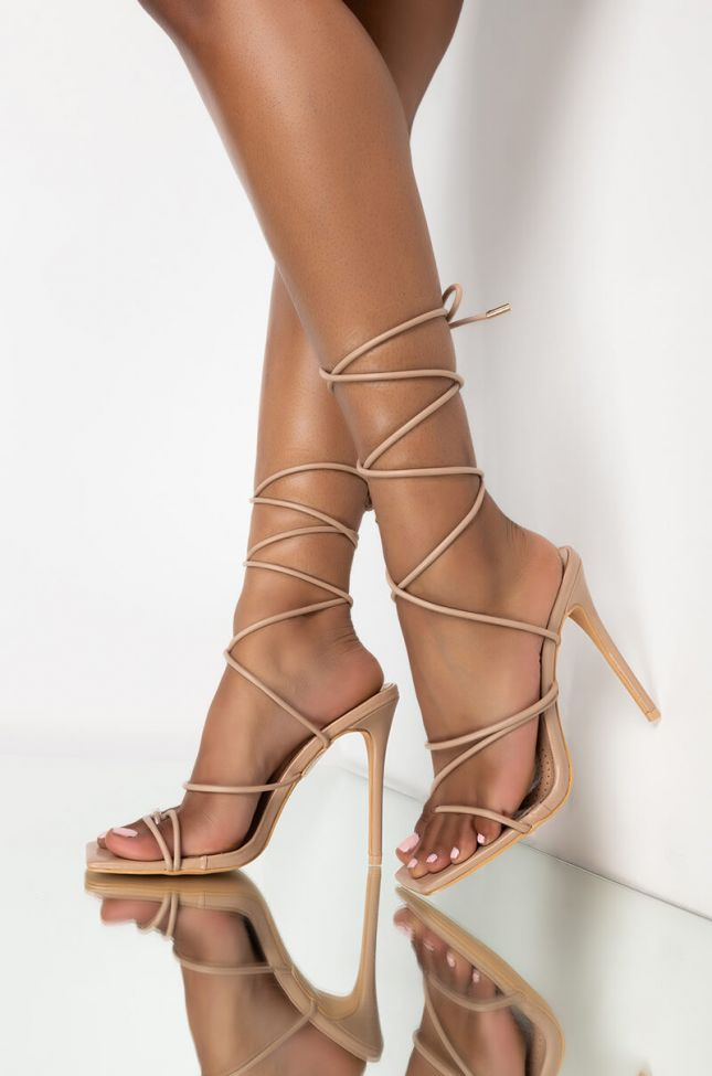 Front View Azalea Wang All Through The Night Stiletto Sandal In Nude in Nude