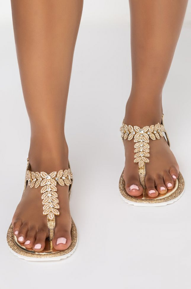Back View Azalea Wang All You Ever Needed Flat Sandal In Gold in Gold