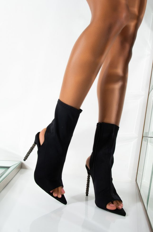 Front View Azalea Wang All You Need Is Me Tonight Stiletto Bootie In Black in Black