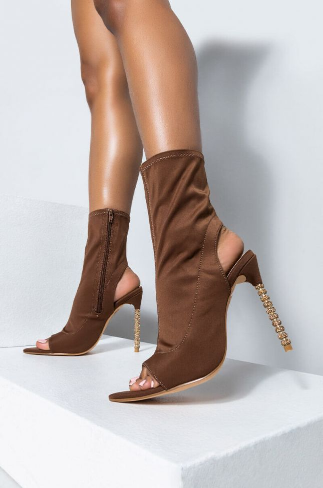 Front View Azalea Wang All You Need Is Me Tonight Stiletto Bootie In Brown in Brown