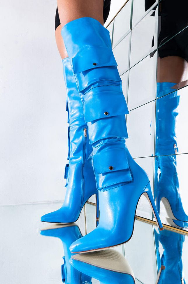 AZALEA WANG BACK AT THE TOP ONCE AGAIN STILETTO BOOT IN BLUE