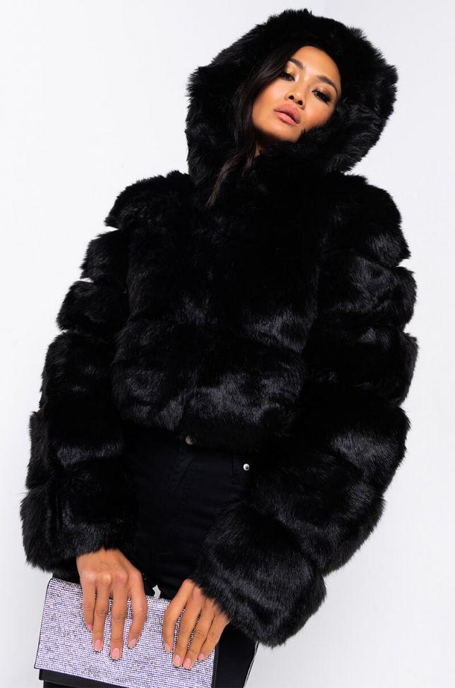 Front View Azalea Wang Bape Faux Fur Panel Jacket in Black