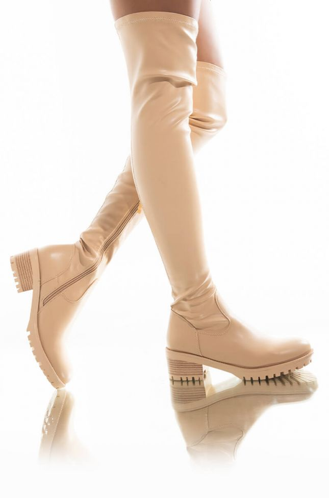 Front View Azalea Wang Been Thinking About You Flatform Boot In Bone