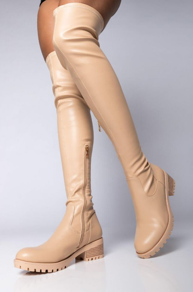 Front View Azalea Wang Been Thinking About You Flatform Boot In Bone in Bone